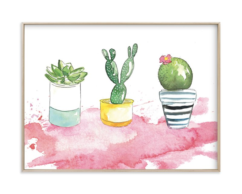 """The 3 Cacti"" - Art Print by Kelsey McNatt in beautiful frame options and a variety of sizes."