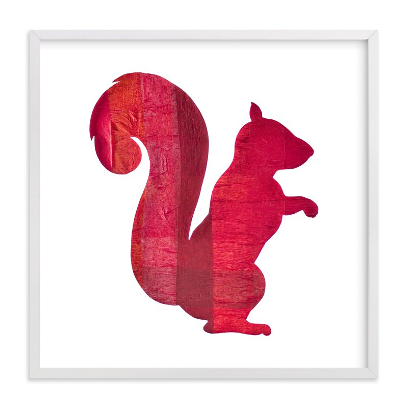 """Red Party Squirrel"" - Art Print by Jeff Preuss in beautiful frame options and a variety of sizes."