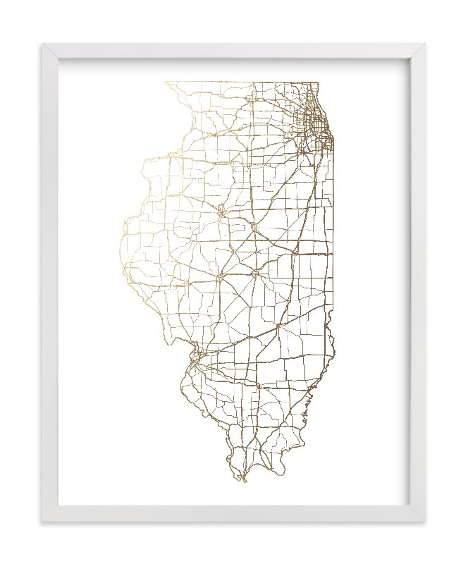 """""""Illinois Map"""" - Foil-pressed Art Print by GeekInk Design in beautiful frame options and a variety of sizes."""