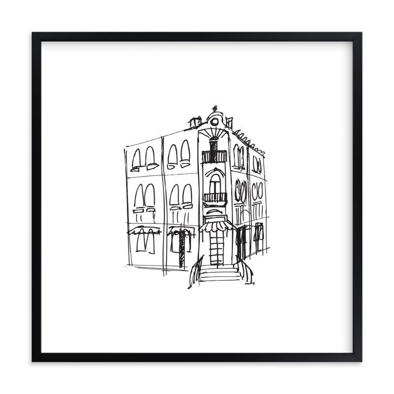 """""""Paris Street Shop 3"""" - Art Print by Phrosne Ras in beautiful frame options and a variety of sizes."""
