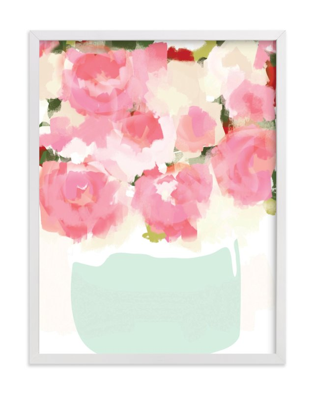 """""""Peonies in Vase"""" - Art Print by kelli hall in beautiful frame options and a variety of sizes."""