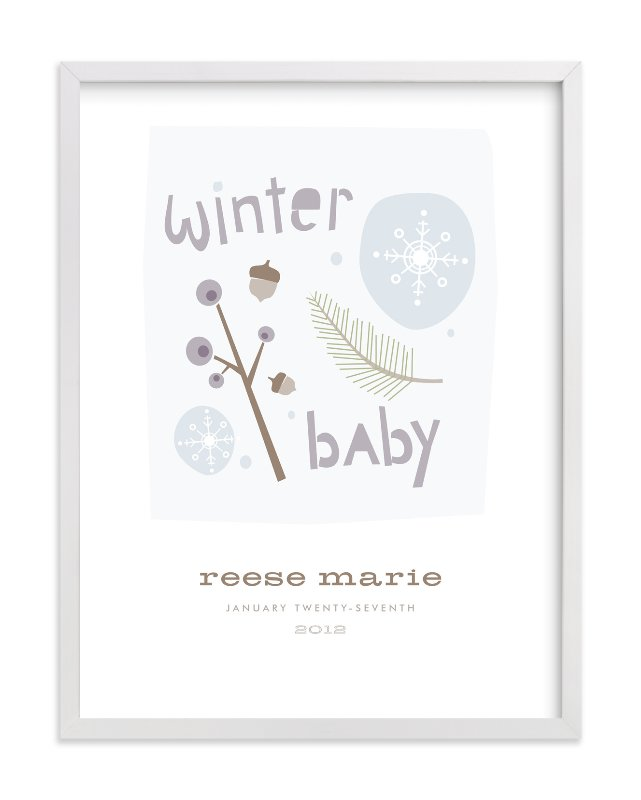 """Winter Baby"" - Nursery Custom Art Print by Carolyn MacLaren in beautiful frame options and a variety of sizes."