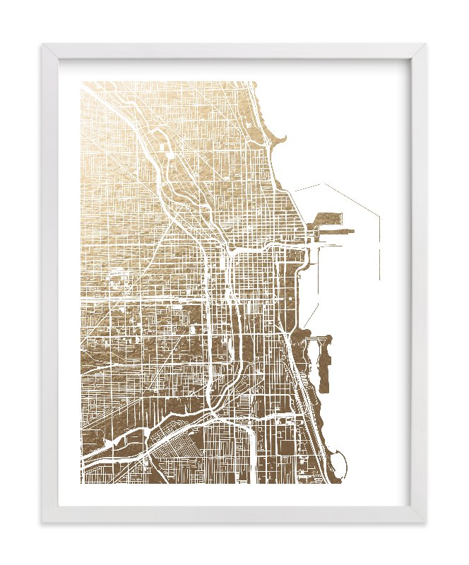 Chicago Chicago Map Foil Pressed Wall Art