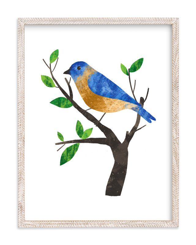 """""""Eastern Bluebird"""" - Art Print by Evelline Andrya in beautiful frame options and a variety of sizes."""