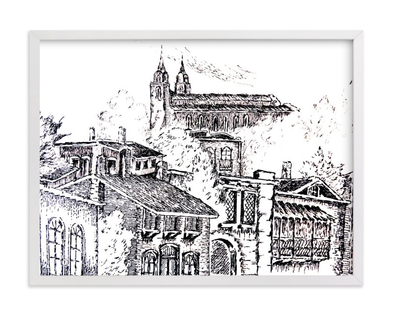 """""""Colonial VIllage"""" - Art Print by Nene in beautiful frame options and a variety of sizes."""