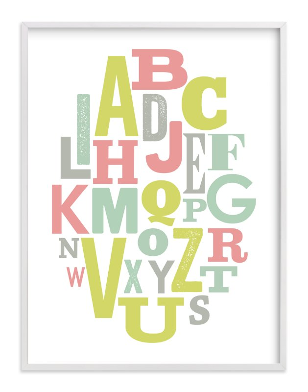 """Oval Alphabet"" - Art Print by Leah Bisch in beautiful frame options and a variety of sizes."