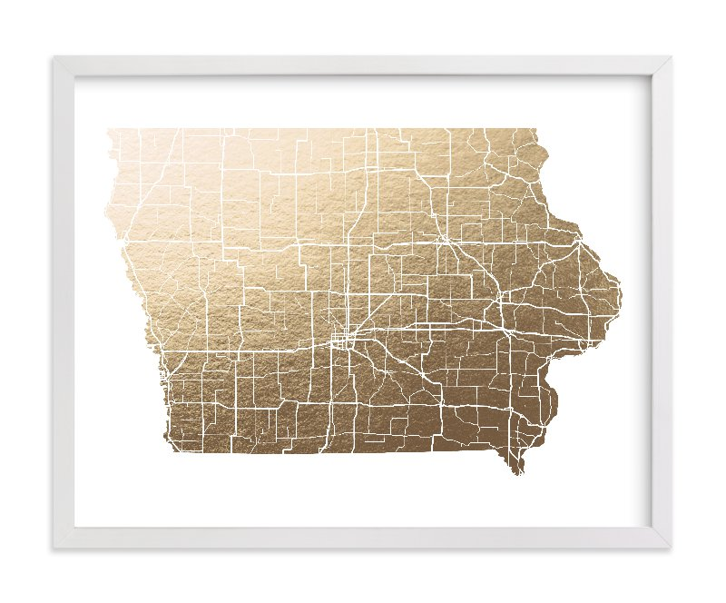 """Iowa Map"" - Foil-pressed Art Print by GeekInk Design in beautiful frame options and a variety of sizes."