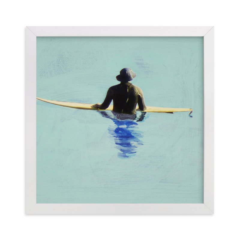 """""""Topanga Hat Wearing Surfer"""" - Art Print by Annie Seaton in beautiful frame options and a variety of sizes."""