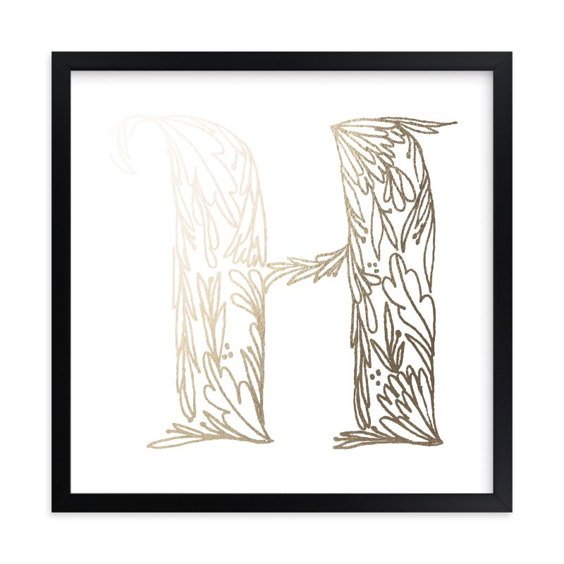"""""""Botanical H"""" - Foil-pressed Art Print by Grace Kreinbrink in beautiful frame options and a variety of sizes."""