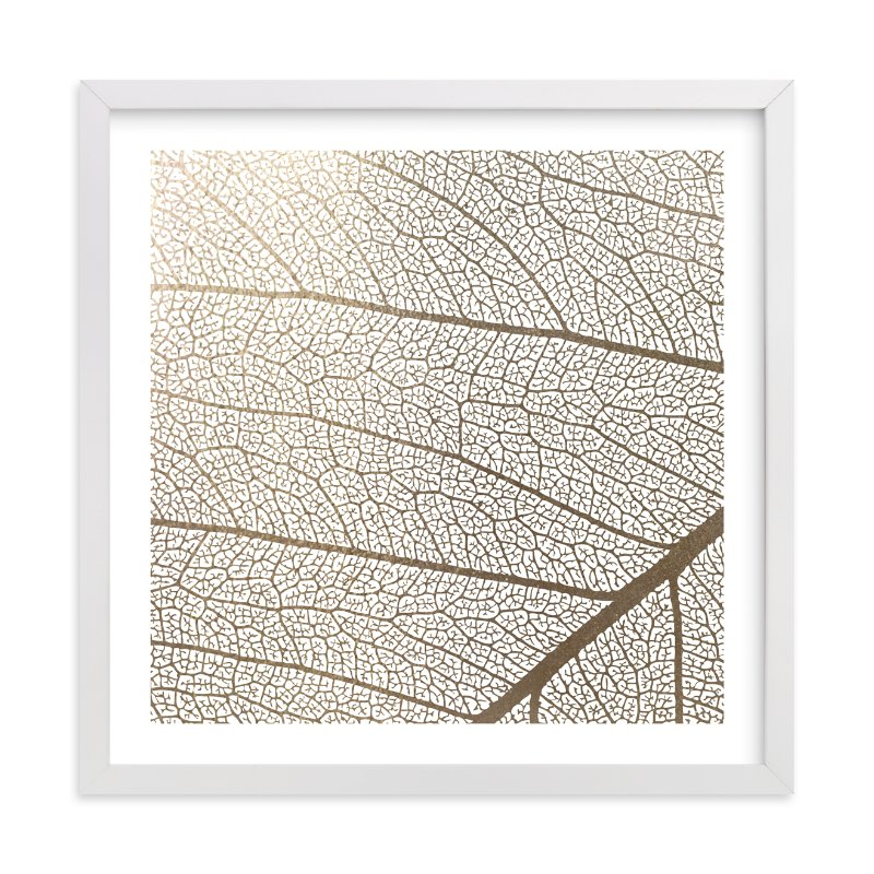 """Leaf"" - Foil-pressed Art Print by Stellax Creative in beautiful frame options and a variety of sizes."