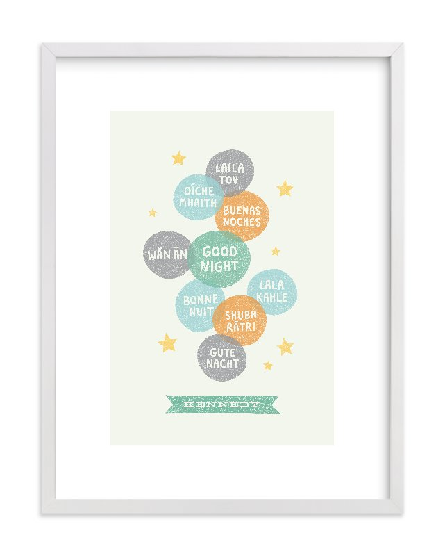 """Good Night World"" - Nursery Custom Art Print by Olivia Raufman in beautiful frame options and a variety of sizes."
