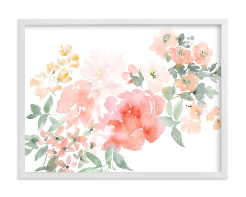 """""""Peony with Spring Flowers"""" - Art Print by Julie Song Ink in beautiful frame options and a variety of sizes."""