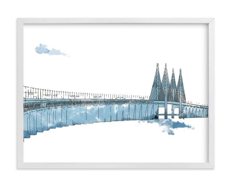 """""""Blue Oresund Bridge"""" - Art Print by Cindy Lackey in beautiful frame options and a variety of sizes."""