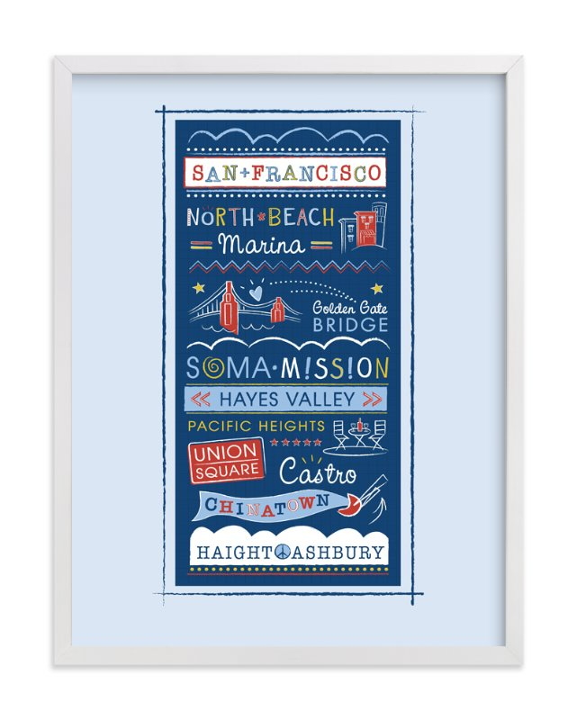 """Left my Heart in San Francisco"" - Art Print by Kimberly Schwede in beautiful frame options and a variety of sizes."