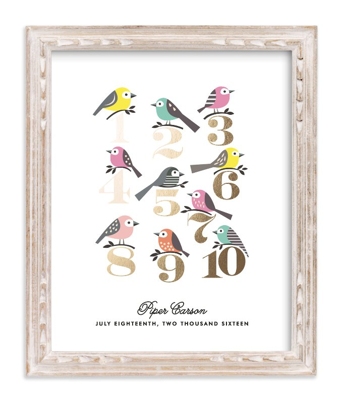 """""""Counting Birds"""" - Foil-pressed Children's Custom Photo Art Print by Karidy Walker in beautiful frame options and a variety of sizes."""
