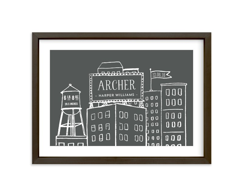 """""""Cityscape Stats"""" - Children's Custom Art Print by Frooted Design in beautiful frame options and a variety of sizes."""