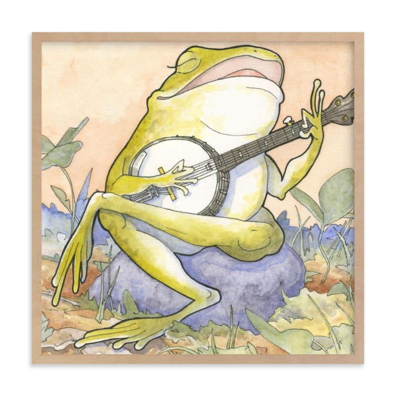 """Wide Mouth Froggy"" - Art Print by Natalie Groves in beautiful frame options and a variety of sizes."
