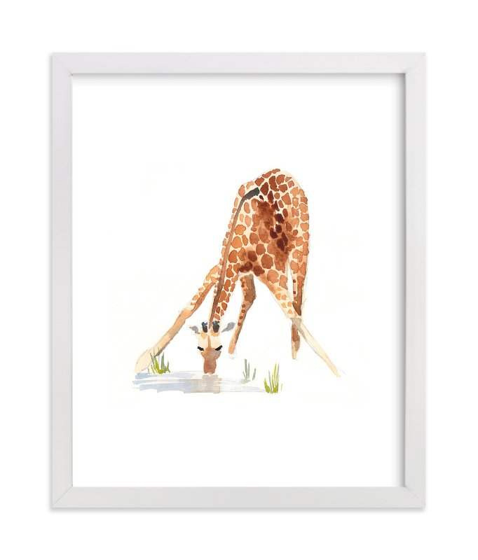 """Giraffe at the Waterhole"" - Art Print by Haley Mistler in beautiful frame options and a variety of sizes."