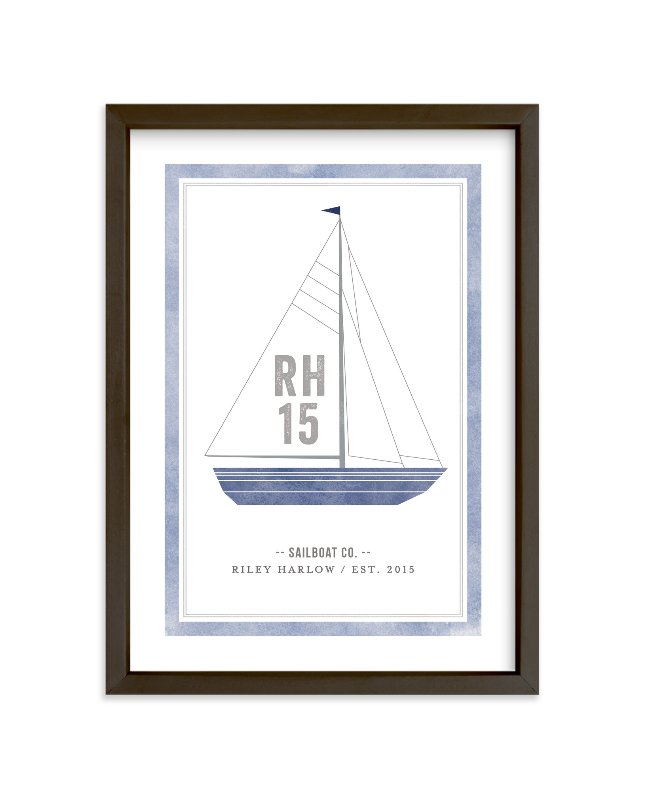 """""""Sailboat co."""" - Children's Custom Art Print by j.bartyn in beautiful frame options and a variety of sizes."""