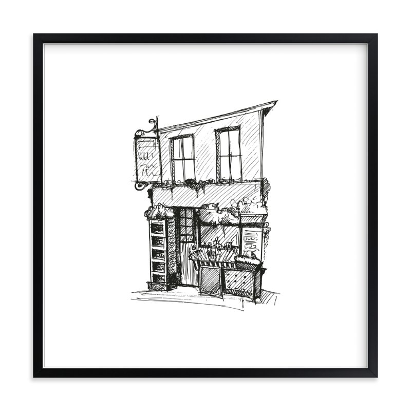 """Paris Street Shop 1"" - Art Print by Phrosne Ras in beautiful frame options and a variety of sizes."