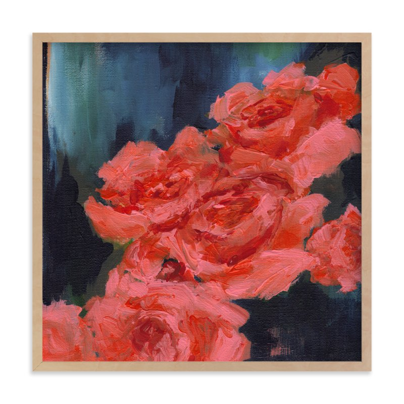 """""""Coral Roses"""" - Art Print by Sonal Nathwani in beautiful frame options and a variety of sizes."""