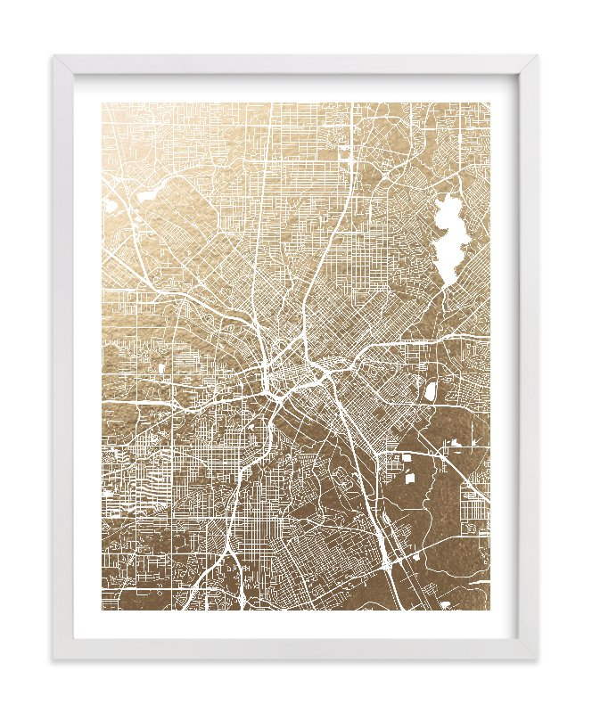 Dallas Map Foil pressed Art Print by