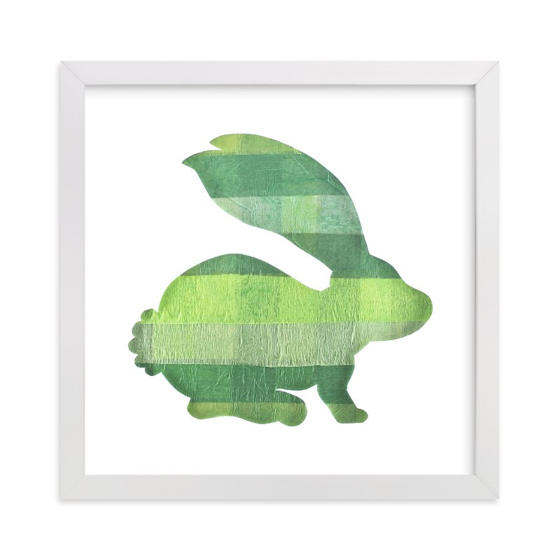 """""""Green Party Bunny"""" - Art Print by Jeff Preuss in beautiful frame options and a variety of sizes."""