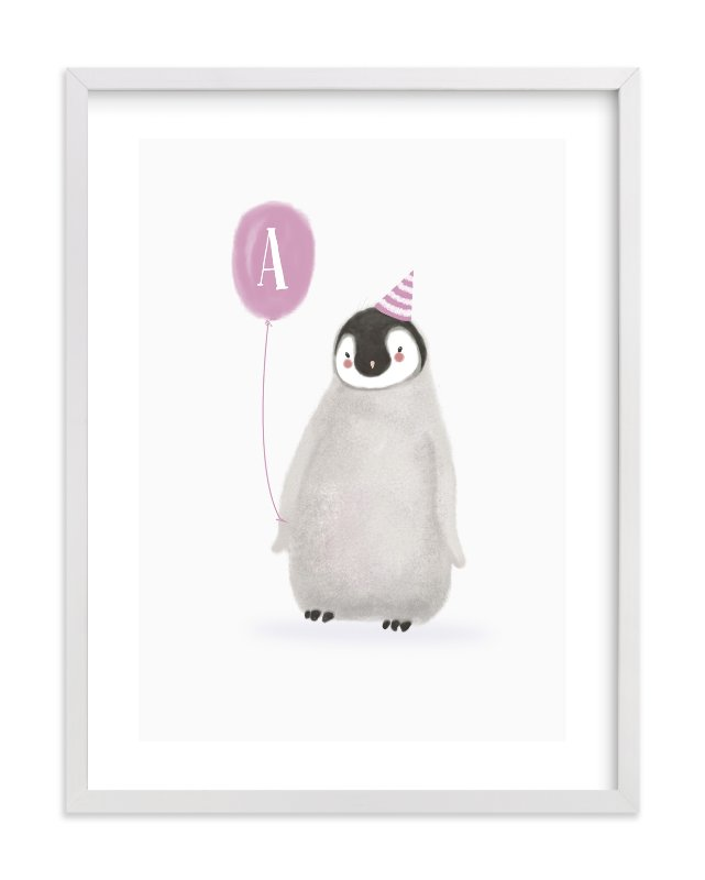 """Coolest Penguin"" - Children's Custom Art Print by Ela. in beautiful frame options and a variety of sizes."