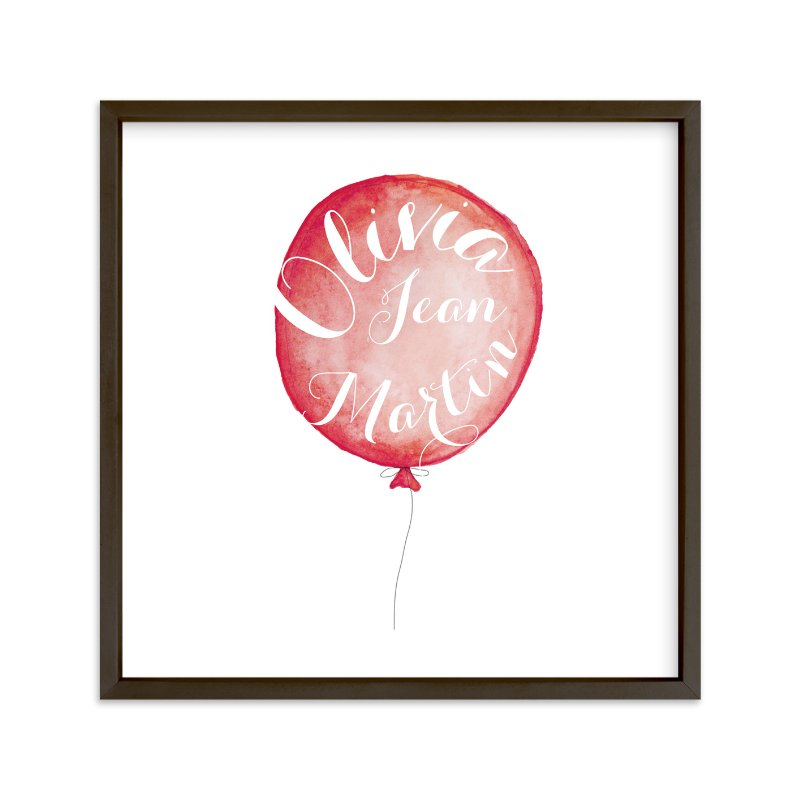 """Calligraphy Balloon"" - Children's Custom Art Print by Petal and Print in beautiful frame options and a variety of sizes."