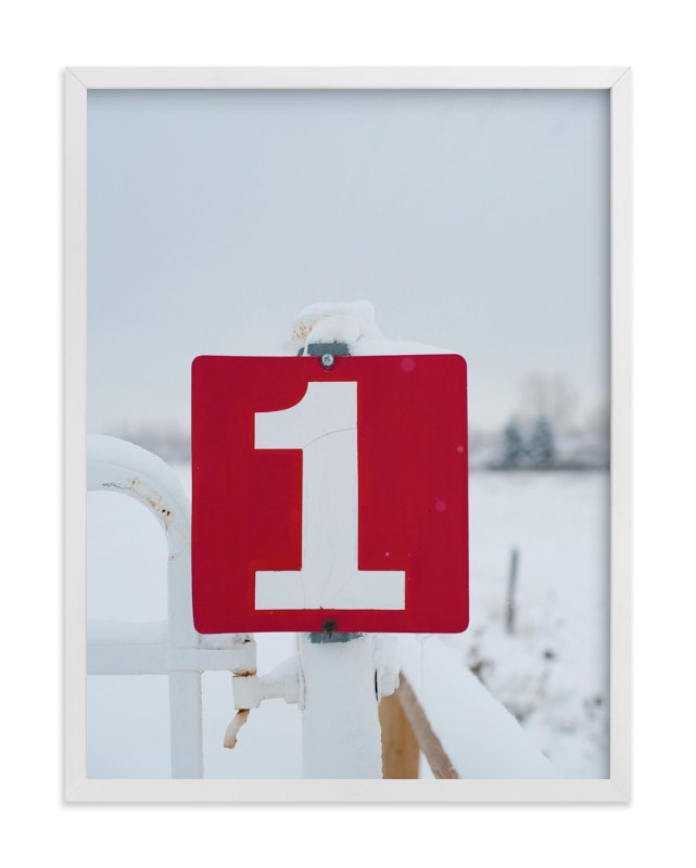 """Red drive-in sign in the snow"" - Art Print by Jennifer Little in beautiful frame options and a variety of sizes."