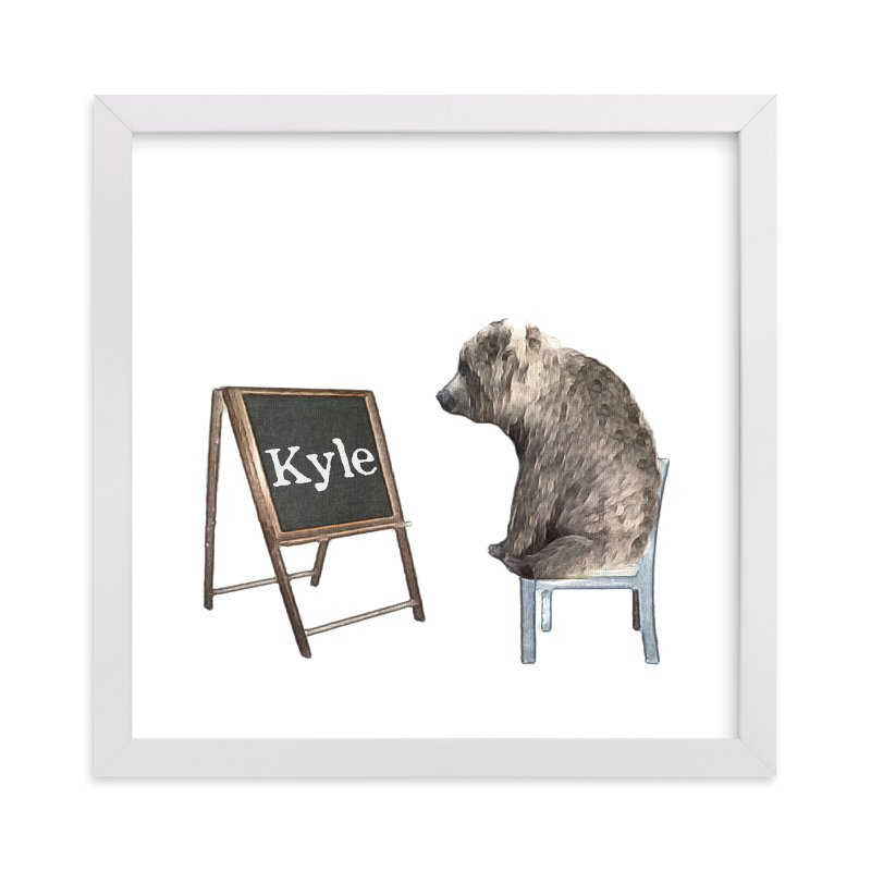 """Message on a Blackboard"" - Children's Custom Art Print by Maja Cunningham in beautiful frame options and a variety of sizes."