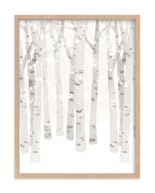 """""""Birch Woods in Winter"""" - Art Print by Four Wet Feet Studio in beautiful frame options and a variety of sizes."""