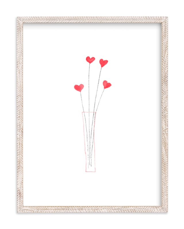"""Watercolor Heart Bouquet"" - Art Print by Belia Simm in beautiful frame options and a variety of sizes."