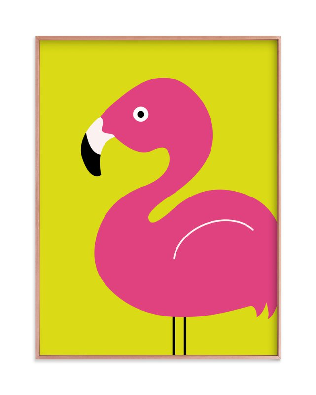 """""""The Pink Flamingo """" - Art Print by Mayel in beautiful frame options and a variety of sizes."""