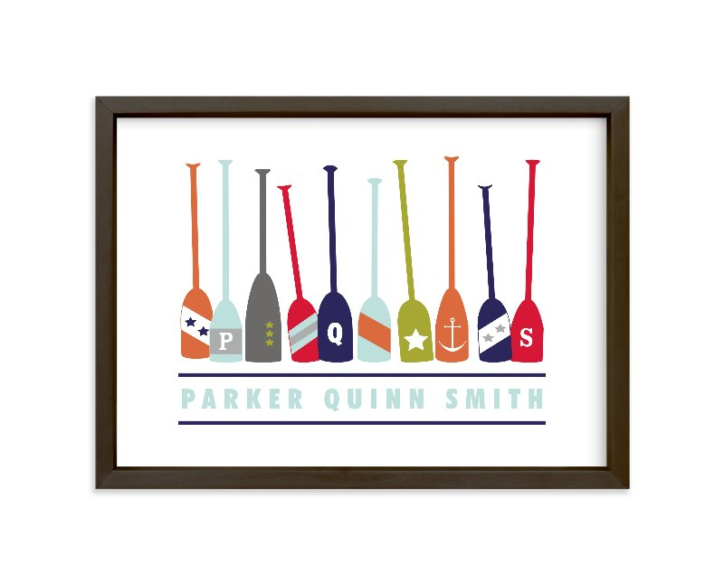 """Monogrammed Oars"" - Children's Custom Art Print by Petal and Print in beautiful frame options and a variety of sizes."