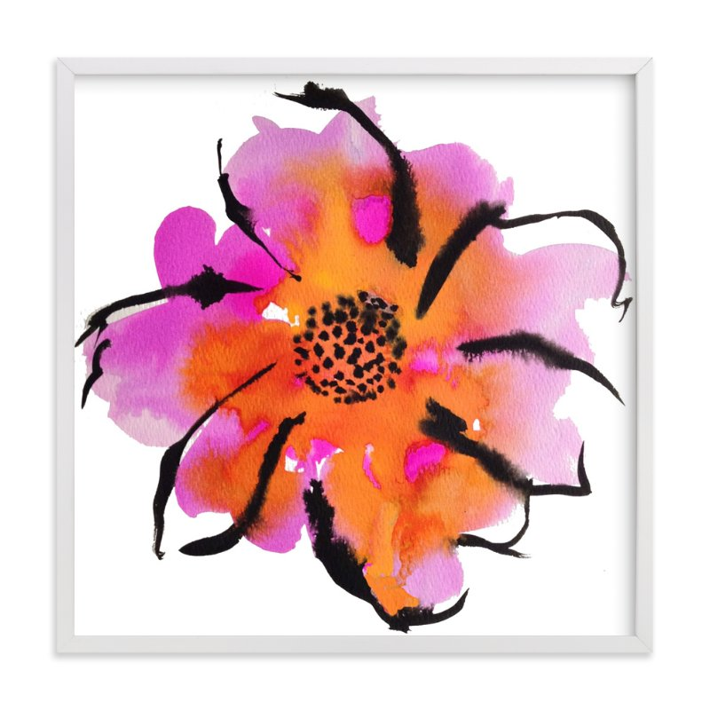 """""""Electric Bloom in Pink and Orange"""" - Art Print by Deborah Velasquez in beautiful frame options and a variety of sizes."""