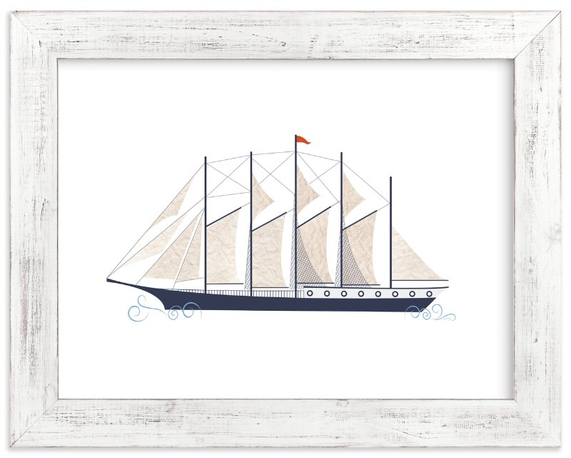 """Schooner Boat"" - Art Print by Katie Zimpel in beautiful frame options and a variety of sizes."