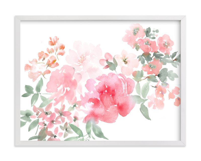 """Peony with Spring Flowers"" - Art Print by Julie Song Ink in beautiful frame options and a variety of sizes."