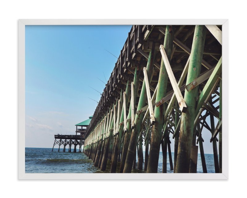 """Fishing off the Pier"" - Art Print by Jessica Marchetti in beautiful frame options and a variety of sizes."