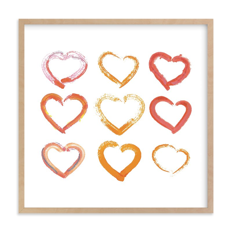 """Lovely Hand-Drawn Watercolor Hearts"" - Limited Edition Art Print by Alexandra Dzh in beautiful frame options and a variety of sizes."