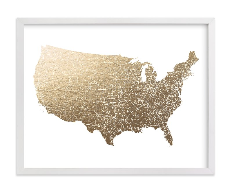 United States Map Filled FoilPressed Wall Art By GeekInk Design - States map of the united states