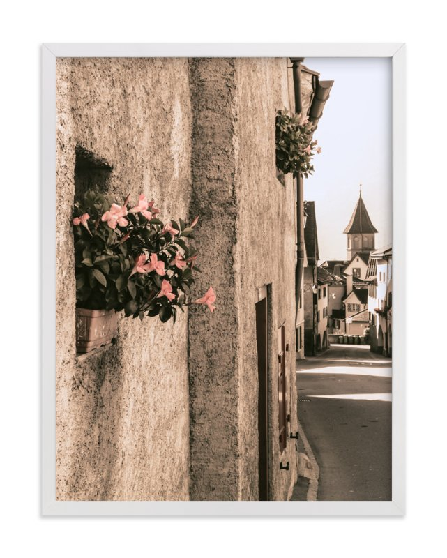 """""""Flowers in the Village"""" - Art Print by Heather Squance in beautiful frame options and a variety of sizes."""