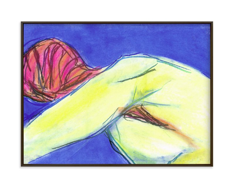 """""""Figure in the Blues"""" - Art Print by Miranda Mol in beautiful frame options and a variety of sizes."""