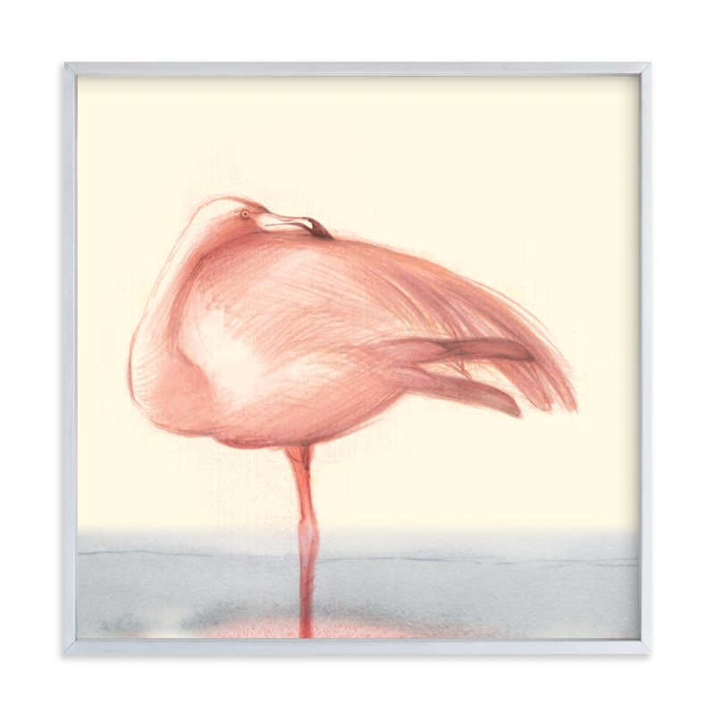 """""""Soft Hued Flamingo"""" - Art Print by Tracy Ann in beautiful frame options and a variety of sizes."""