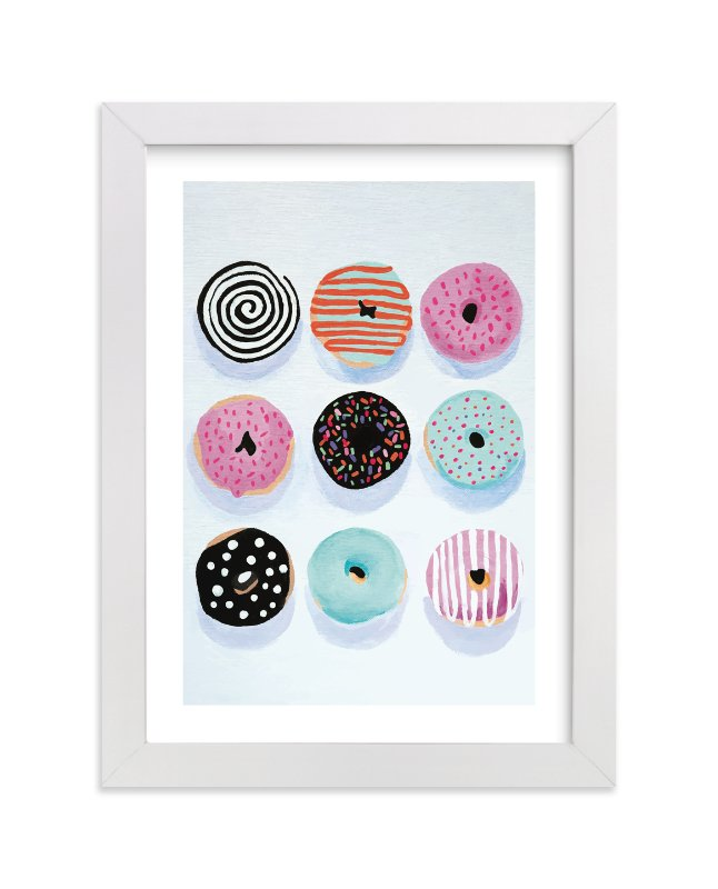 """Pop Donuts"" - Limited Edition Art Print by Julia Devine in beautiful frame options and a variety of sizes."