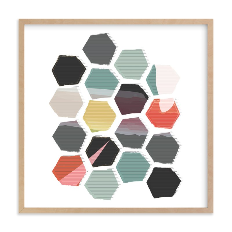 """Hexagon II"" - Art Print by Rebecca Bowen in beautiful frame options and a variety of sizes."