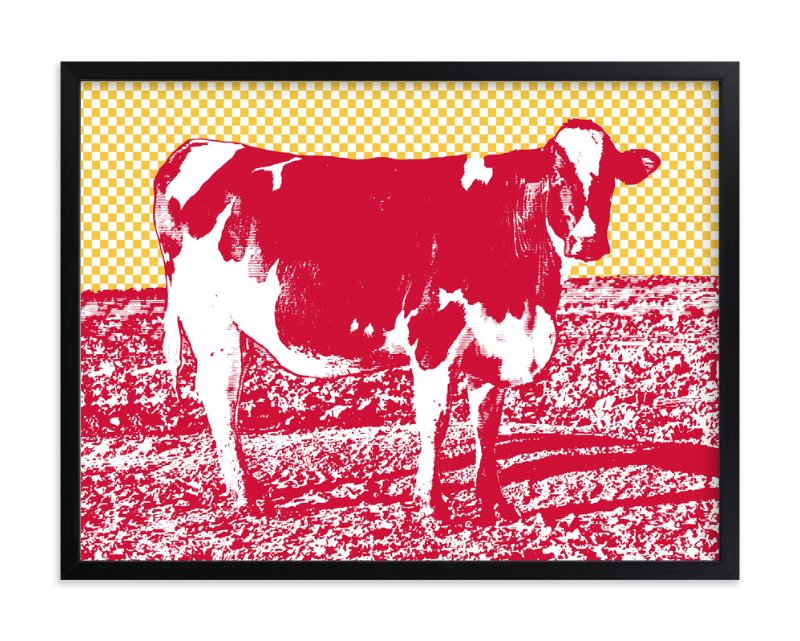 """Petaluma Cow"" - Art Print by Anne Crosse in beautiful frame options and a variety of sizes."