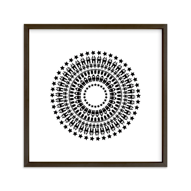 """Robot Mandala"" - Art Print by Jan Shepherd in beautiful frame options and a variety of sizes."