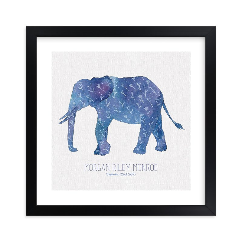 """""""Little Painted Elephant"""" - Children's Custom Art Print by Melissa Kelman in beautiful frame options and a variety of sizes."""