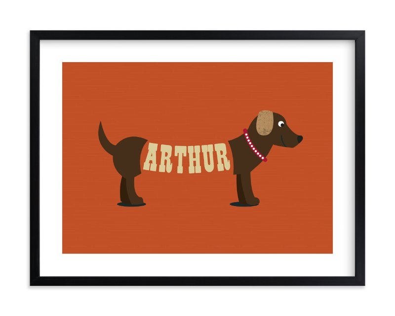 """""""Hot Diggity Dog"""" - Children's Custom Art Print by Leah Shannon in beautiful frame options and a variety of sizes."""